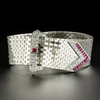 Retro Diamond and Ruby Buckle Bracelet - 3