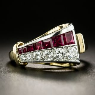 Retro Diamond And Ruby Ribbon Ring by J.& L. Hartzberg - 2