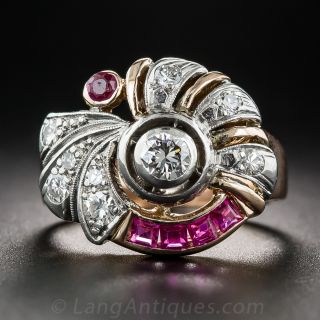 Retro Diamond and Ruby Ring - 1