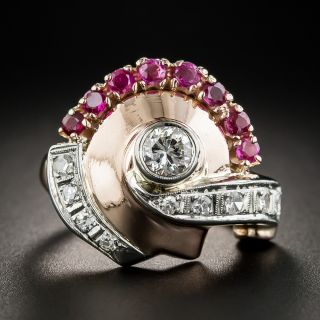 Retro Diamond and Ruby Ring