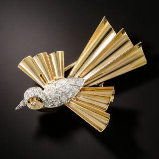 Retro Diamond Bird Brooch  - 1
