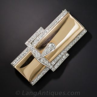 Retro Diamond Buckle Brooch