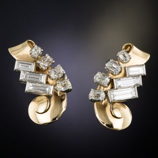 Retro Diamond Ear Clips by Birks - 1