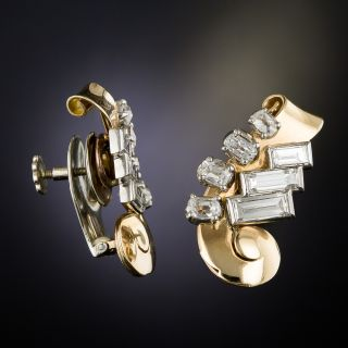 Retro Diamond Ear Clips by Birks