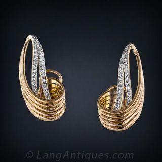 Retro Diamond Ear Clips