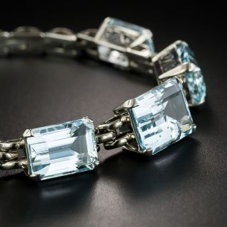 Retro Emerald-Cut Aquamarine Link Bracelet - 2