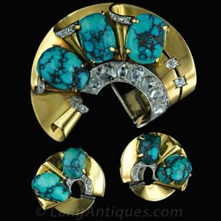 Retro French Turquoise and Diamond Suite - 1
