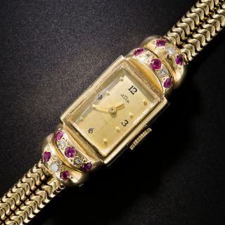 Retro Gold Ruby and Diamond Watch