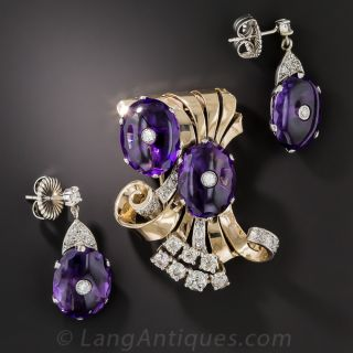 Retro/Mid-Century Amethyst Brooch and Earrings