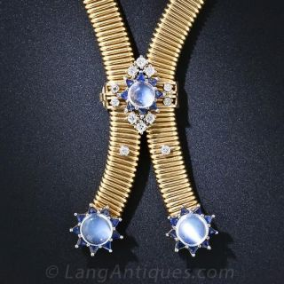 Retro Moonstone, Diamond and Sapphire Slide Necklace