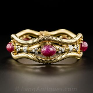 Retro No-Heat Burmese Ruby and Diamond Bracelet - 1
