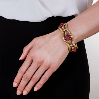 Retro No-Heat Burmese Ruby and Diamond Bracelet
