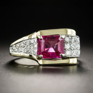 Retro No-Heat Burmese Ruby and Diamond Ring - 1