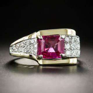 Retro No-Heat Burmese Ruby and Diamond Ring - 1
