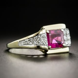 Retro No-Heat Burmese Ruby and Diamond Ring