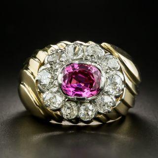 Retro No-Heat Pink Sapphire and Diamond Ring - GIA - 2