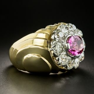 Retro No-Heat Pink Sapphire and Diamond Ring - GIA