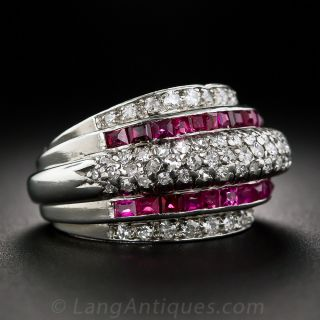 Retro Platinum, Diamond and Calibre Ruby Ring