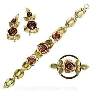Retro Rose Bracelet  Earrings   Brooch Set Main View