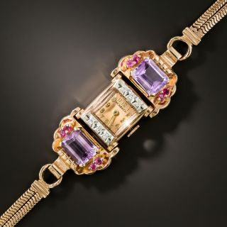 Retro Rose Gold Amethyst and Diamond Watch by MONARCH - 2
