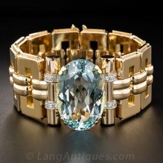 Retro Rose Gold and Aquamarine Bracelet