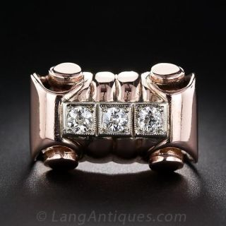 Retro Rose Gold and Diamond Ring - 1