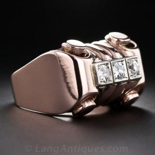 Retro Rose Gold and Diamond Ring