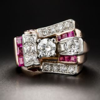 Retro Rose Gold, Diamond and Ruby Ring - 2