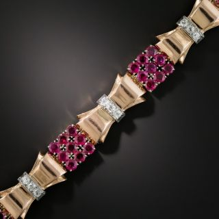 Retro Rose Gold Ruby and Diamond Bracelet - 3