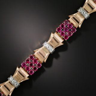 Retro Rose Gold Ruby and Diamond Bracelet - 3