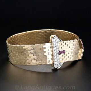 Retro Ruby and Diamond Belt Bracelet