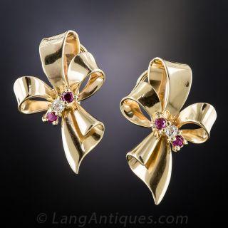 Retro Ruby and Diamond Bow Clip Earrings
