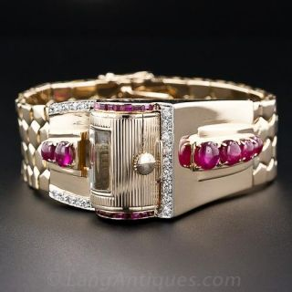 Retro Ruby and Diamond Bracelet 'Driver's' Watch