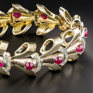 Retro Ruby and Diamond Bracelet