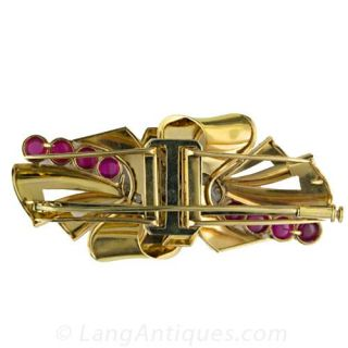 Retro Ruby and Diamond Double-Clip Brooch