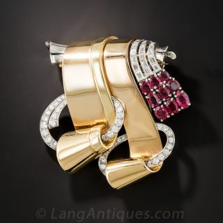 Retro Ruby and Diamond Double Clips/Brooch - 1
