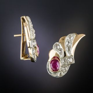 Retro Ruby and Diamond Earrings