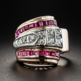 Retro Ruby and Diamond Pinky Ring - 1