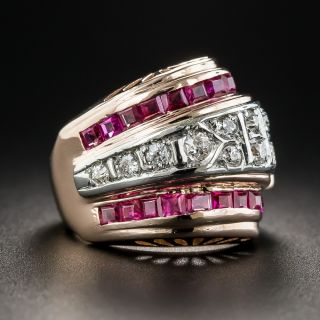 Retro Ruby and Diamond Pinky Ring