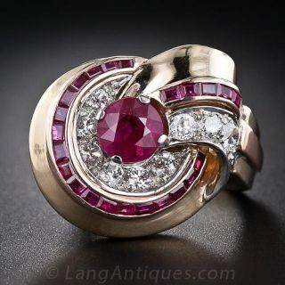 Retro Ruby and Diamond Ring