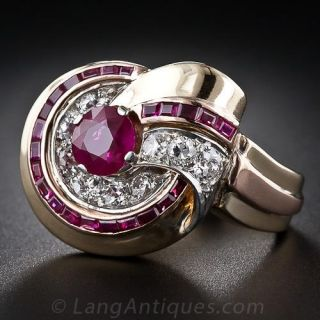 Retro Ruby and Diamond Ring