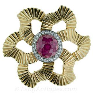 Retro Ruby & Diamond Pin - 1
