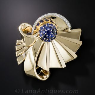Retro Sapphire and Diamond Brooch