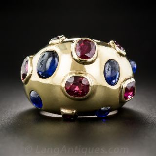 Retro Sapphire and Ruby Ring - 1