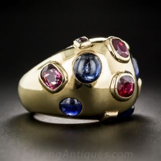 Retro Sapphire and Ruby Ring