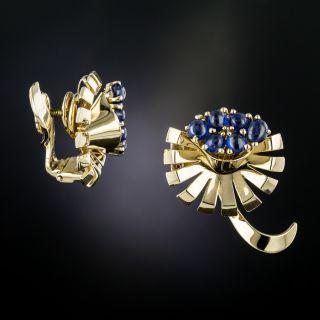 Retro Sapphire Clip Earrings by Trabert & Hoeffer-Mauboussin - 2