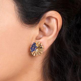 Retro Sapphire Clip Earrings by Trabert & Hoeffer-Mauboussin