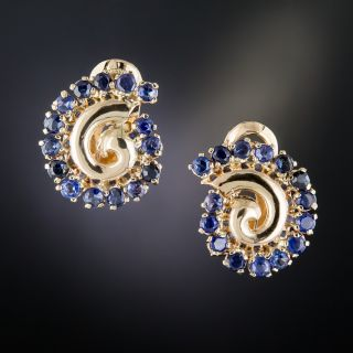 Retro Sapphire Swirl Earrings - 1