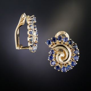 Retro Sapphire Swirl Clip Earrings