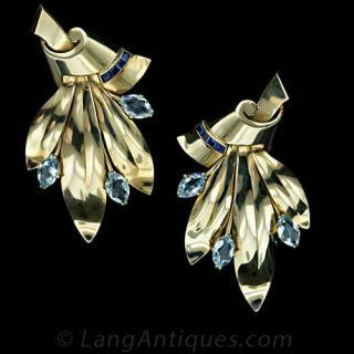 Retro Tiffany & Co. Aquamarine Clips